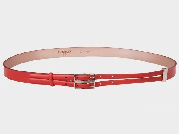 Кожаный красный женский модельный ремень ATS-398