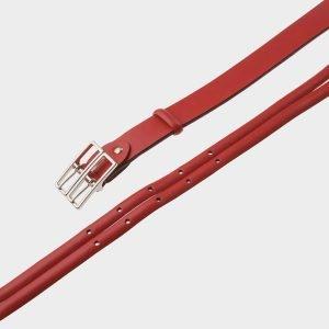 Кожаный красный женский модельный ремень ATS-398 217331