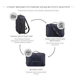 Уникальная синяя мужская сумка трансформер через плечо BRL-23146 221882