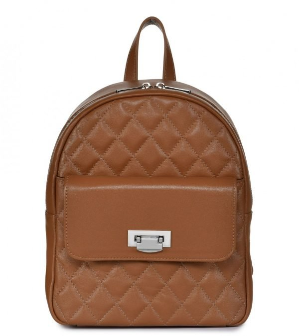 Кожаный темно-оранжевый женский рюкзак FBR-2326