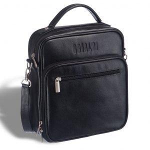 Стильная черная мужская сумка мессенджер BRL-12935