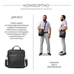 Кожаная черная мужская сумка через плечо BRL-33394 222952