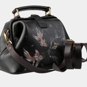 Вместительная черная сумка с росписью ATS-3152 213401