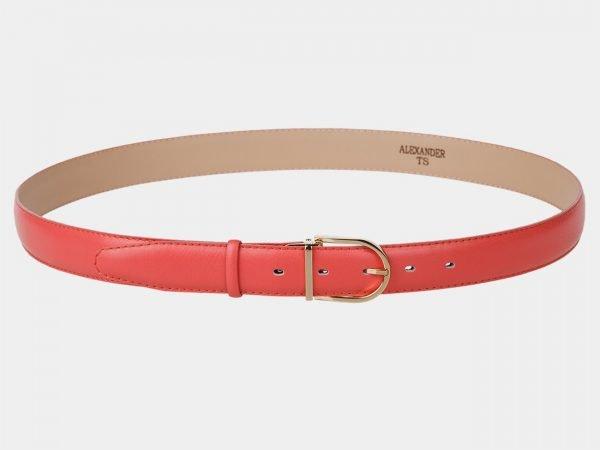 Кожаный розово-оранжевый женский модельный ремень ATS-987