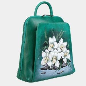 Стильный зеленый рюкзак с росписью ATS-3091