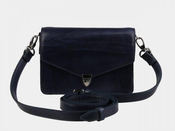 Кожаная синяя женская сумка на пояс ATS-3115
