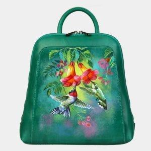 Кожаный зеленый рюкзак с росписью ATS-3088