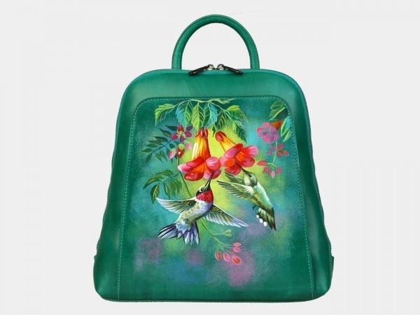 Уникальный зеленый рюкзак с росписью ATS-3088