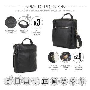 Кожаная черная мужская сумка через плечо BRL-33394 222938