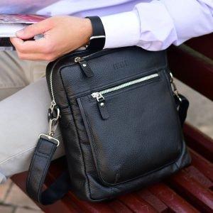 Кожаная черная мужская сумка через плечо BRL-33394 222939