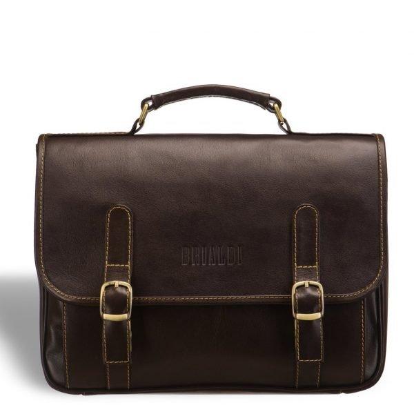 Кожаный коричневый мужской портфель классический BRL-9541