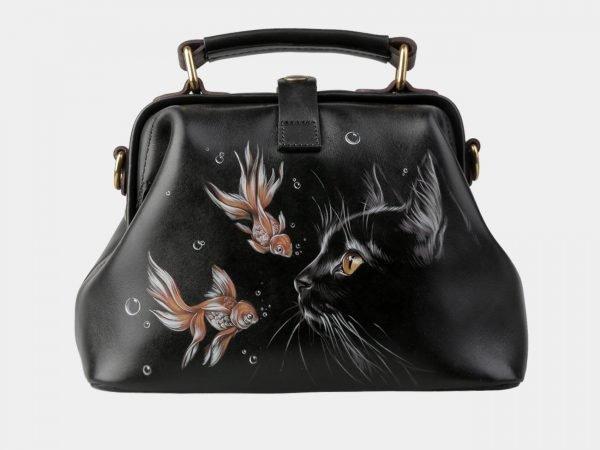 Вместительная черная сумка с росписью ATS-3152