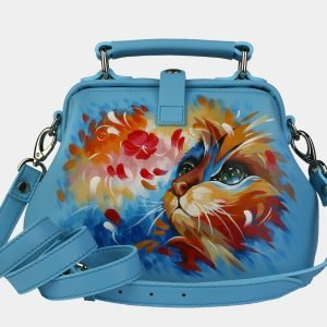 Удобная голубая сумка с росписью ATS-3092