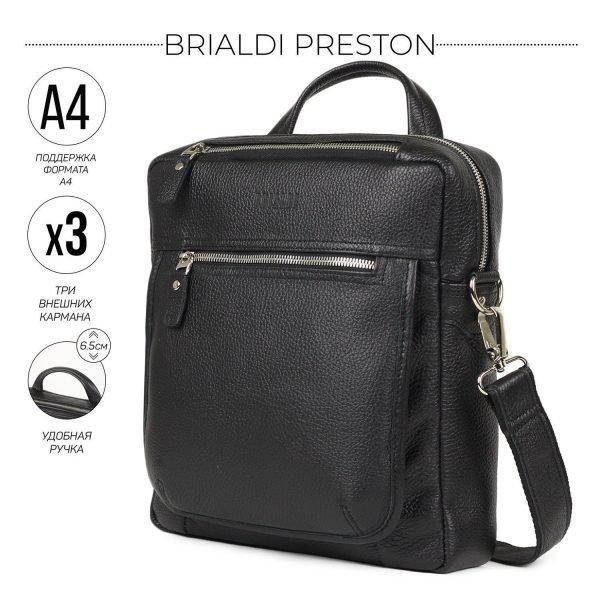 Кожаная черная мужская сумка через плечо BRL-33394
