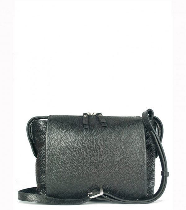 Кожаная черная женская сумка через плечо FBR-2600