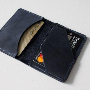 Кожаный синий картхолдер BNZ-3547