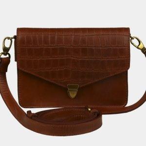 Кожаная светло-коричневая женская сумка на пояс ATS-3064