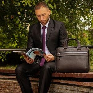 Уникальный коричневый мужской портфель деловой BRL-34100