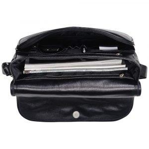 Солидная черная мужская сумка через плечо BRL-143