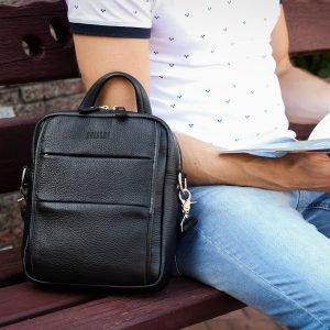 Функциональная черная мужская сумка через плечо BRL-34406 223379