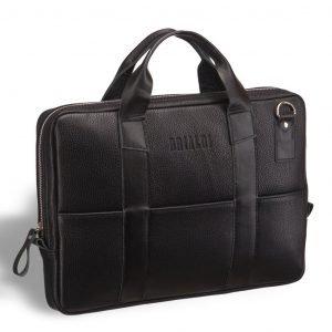 Вместительная черная мужская кожгалантерея BRL-9547