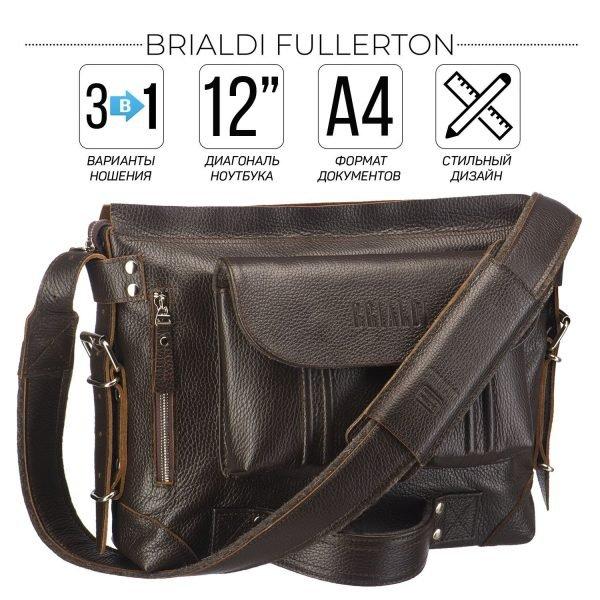 Удобная коричневая мужская сумка трансформер через плечо BRL-28405