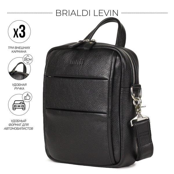 Функциональная черная мужская сумка через плечо BRL-34406