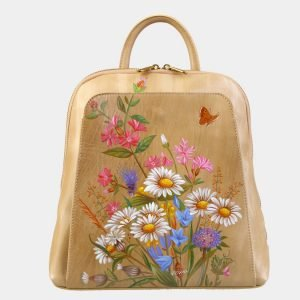 Кожаный бежевый рюкзак с росписью ATS-3090