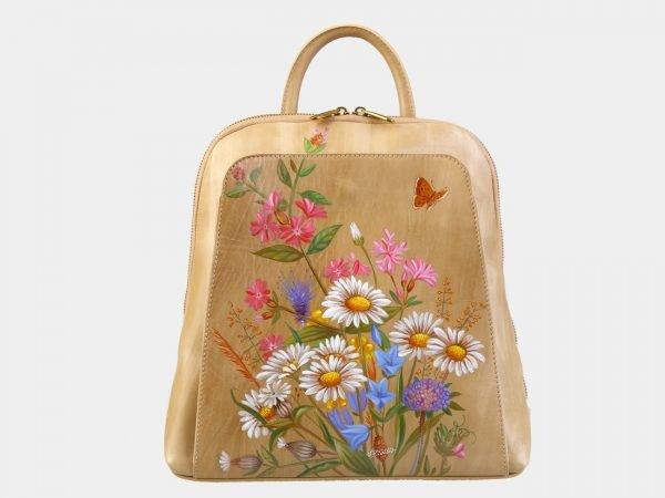 Функциональный бежевый рюкзак с росписью ATS-3090