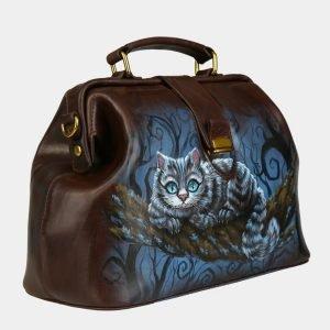 Удобная коричневая сумка с росписью ATS-3094 213524