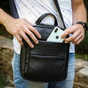 Функциональная черная мужская сумка через плечо BRL-34406 223371