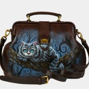 Удобная коричневая сумка с росписью ATS-3094