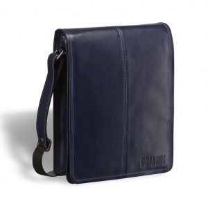 Кожаная синяя мужская сумка через плечо BRL-7393
