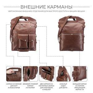 Функциональная темно-оранжевая мужская сумка трансформер через плечо BRL-28435 222351