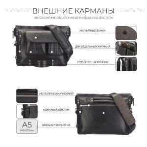 Стильная черная мужская сумка трансформер через плечо BRL-28404 222263
