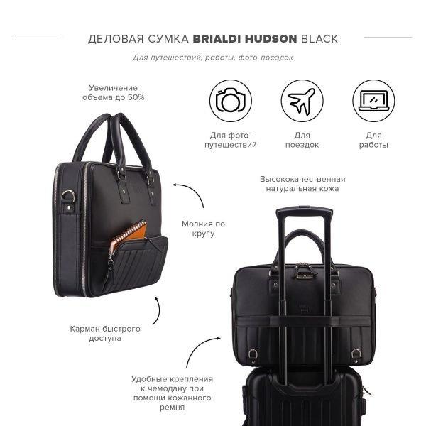 Кожаная черная мужская сумка трансформер через плечо BRL-23165
