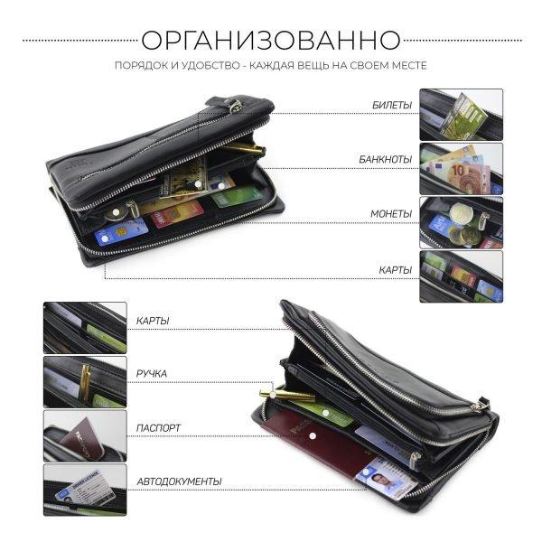 Деловая черная мужская сумка для мобильного телефона BRL-15147