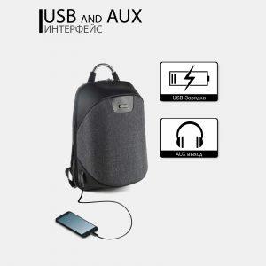 Уникальный черный рюкзак из пвх ATS-3819 211051