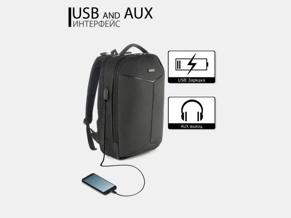 Модный черный рюкзак из пвх ATS-3822