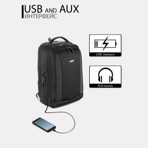 Модный черный рюкзак из пвх ATS-3814