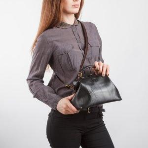 Кожаная черная женская сумка ATS-968 217068