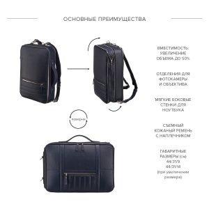 Уникальная синяя мужская сумка трансформер через плечо BRL-23146 221883