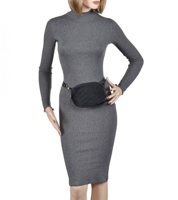 Уникальная черная женская поясная сумка FBR-1838