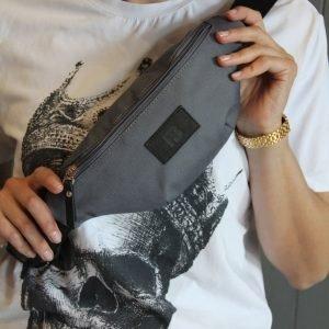 Вместительная серая женская поясная сумка FBR-2496 218887