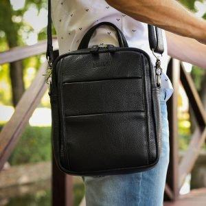 Функциональная черная мужская сумка через плечо BRL-34406 223373