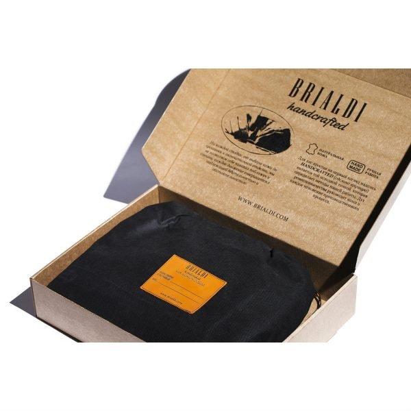 Кожаная черная мужская сумка через плечо BRL-207