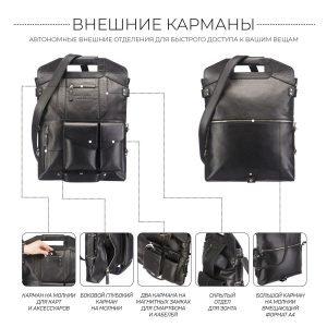 Кожаная черная мужская сумка трансформер через плечо BRL-28432