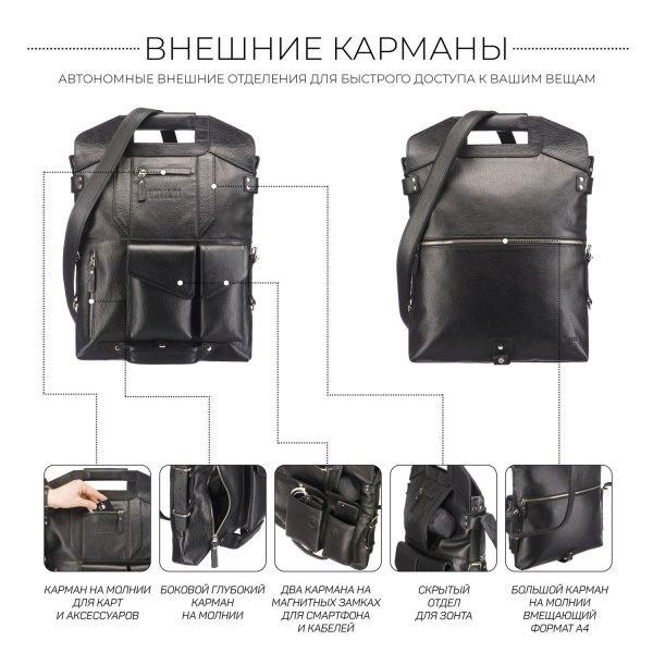 Стильная черная мужская сумка трансформер через плечо BRL-28432