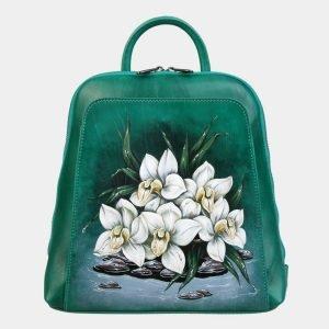 Деловой зеленый рюкзак с росписью ATS-3091