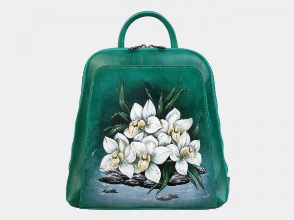 Функциональный зеленый рюкзак с росписью ATS-3091